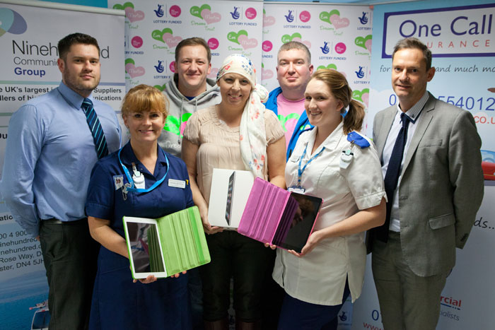 OneCall Insurance and Ninehundred Communications Group help Eve Merton Dreams Trust deliver iPads and internet connection for Ward 18 at Doncaster Royal Infirmary